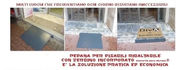 """ItaliAccessibile presenta la """"Pedana per Disabili Ribaltabile con zerbino incorporato"""" brevetto dell'Arch Polcaro."""