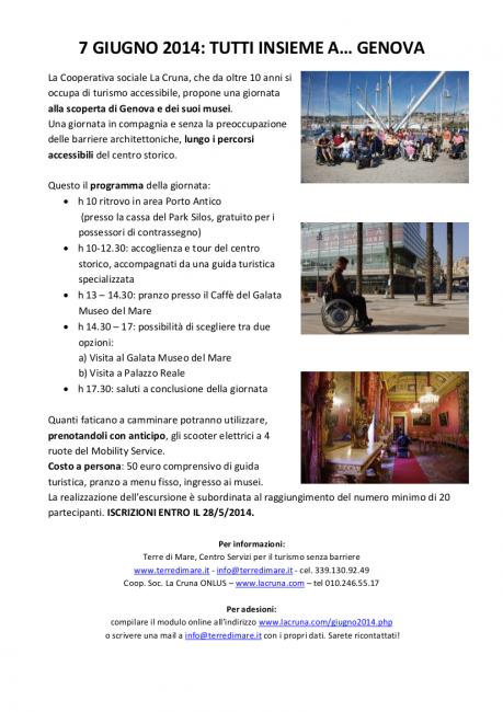 tour accessibile genova la cruna 459x650 - 7 GIUGNO 2014 TOUR ACCESSIBILE A GENOVA ORGANIZZATO DALLA COOPERATIVA LA CRUNA