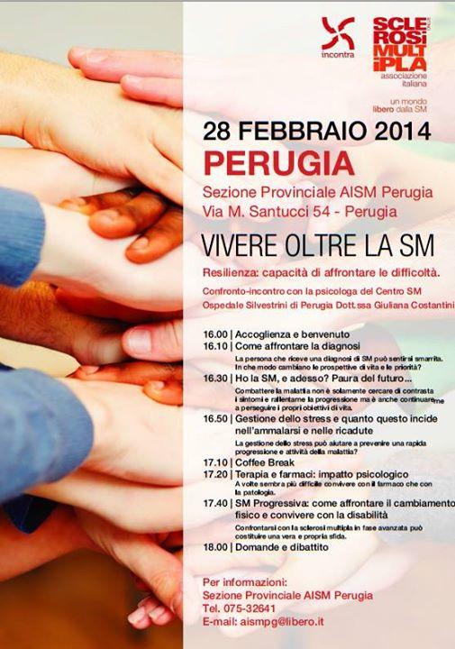 """Perugia Sabato 28 Febbraio: incontro informativo """"VIVERE OLTRE LA SM"""""""