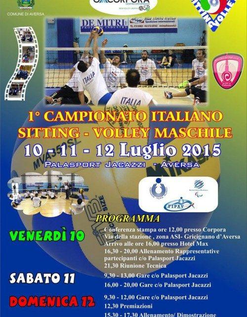 Dal 10 al 12 luglio ad Aversa (Ce) il primo campionato italiano di sitting volley maschile con le rappresentative regionali