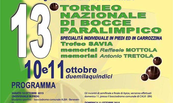 13° torneo nazionale di bocce paralimpico a Benevento, Apice e Calvi