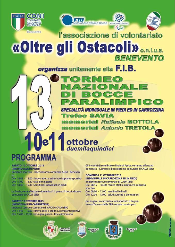 13° torneo nazionale di bocce paralimpico Benevento-Calvi-Apice