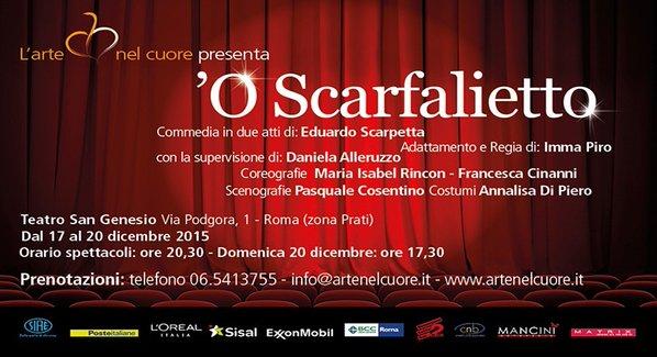 """Il TEATRO DE L'ARTE NEL CUORE ONLUS IN """"O' SCARFALIETTO"""" , OMAGGIO A LUCA DE FILIPPO"""