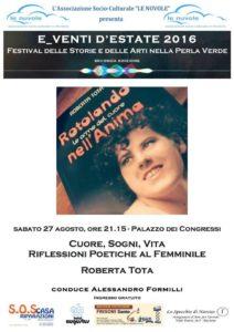 """14022327 10209084426461088 2184696359392500401 n 212x300 - Riccione:  """"Cuore, sogni, vita - Riflessioni poetiche al femminile"""" intervistano Roberta Tota"""