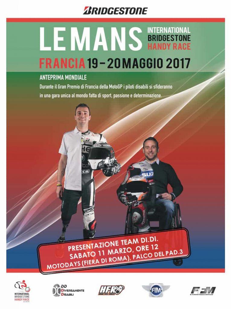 """Invito DD Time Motodays 20171 765x1024 - I Piloti di Moto Paralimpici Di.Di Onlus parteciperanno alla """"International Bridgestone Handy Race"""""""