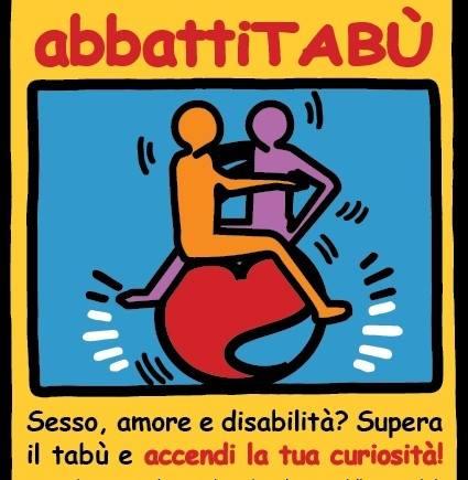 """logo abbattitabù  - CON  """"ABBATTITABU' ABBATTI(AMO) I TABU'  SU SESSUALITA', AFFETTIVITA' E DISABILITA'"""