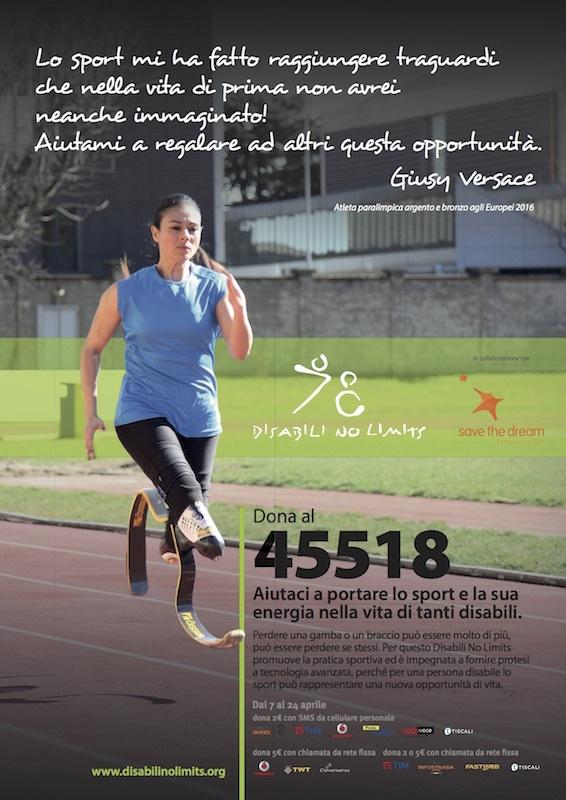 campagna a favore della Disabili No Limits di Giusy Versace