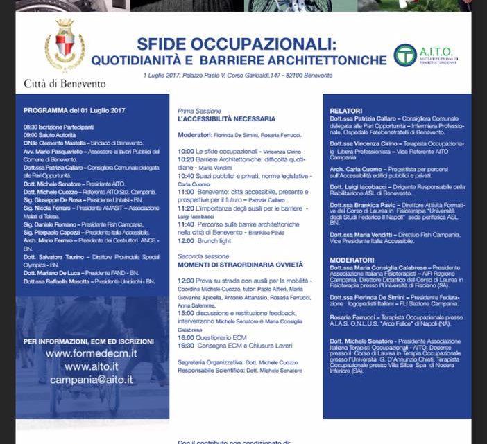 Quotidianità e Barriere Architettoniche: Convegno AITO 1 Luglio a Benevento
