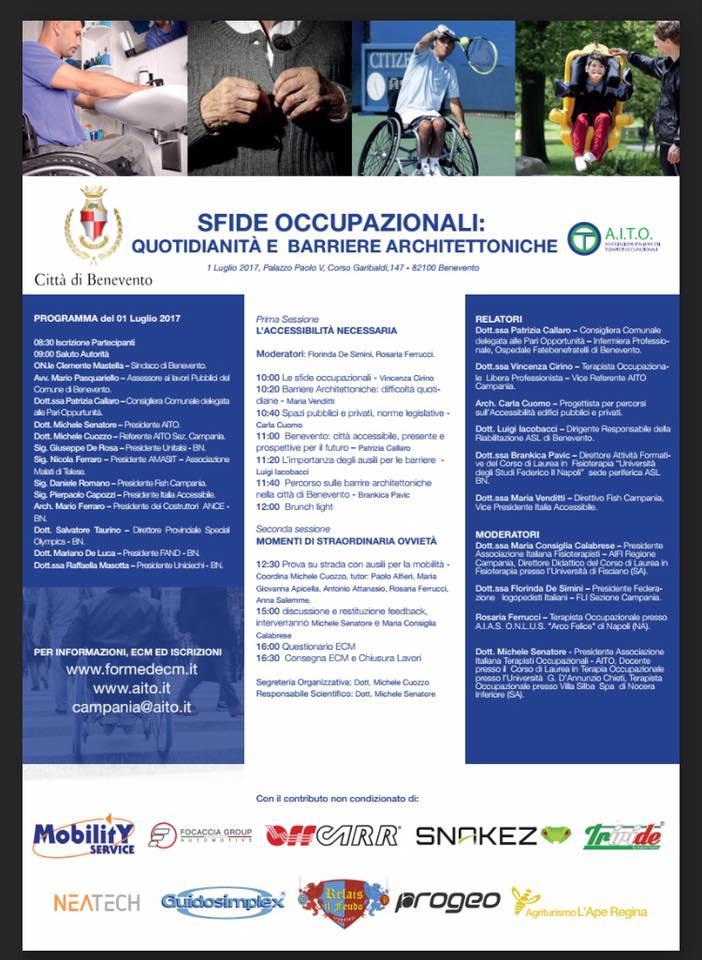 Quotidianità e barriere architettoniche - Convegno 1 luglio 2017 Benevento