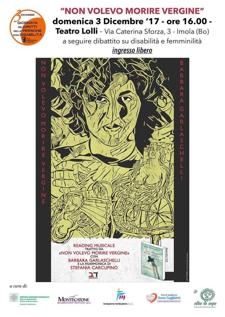 """Locandina Garlaschelli 3.12.17 725x1024 - 3 Dicembre, Imola : Reading teatrale """"Non Volevo Morire Vergine"""""""