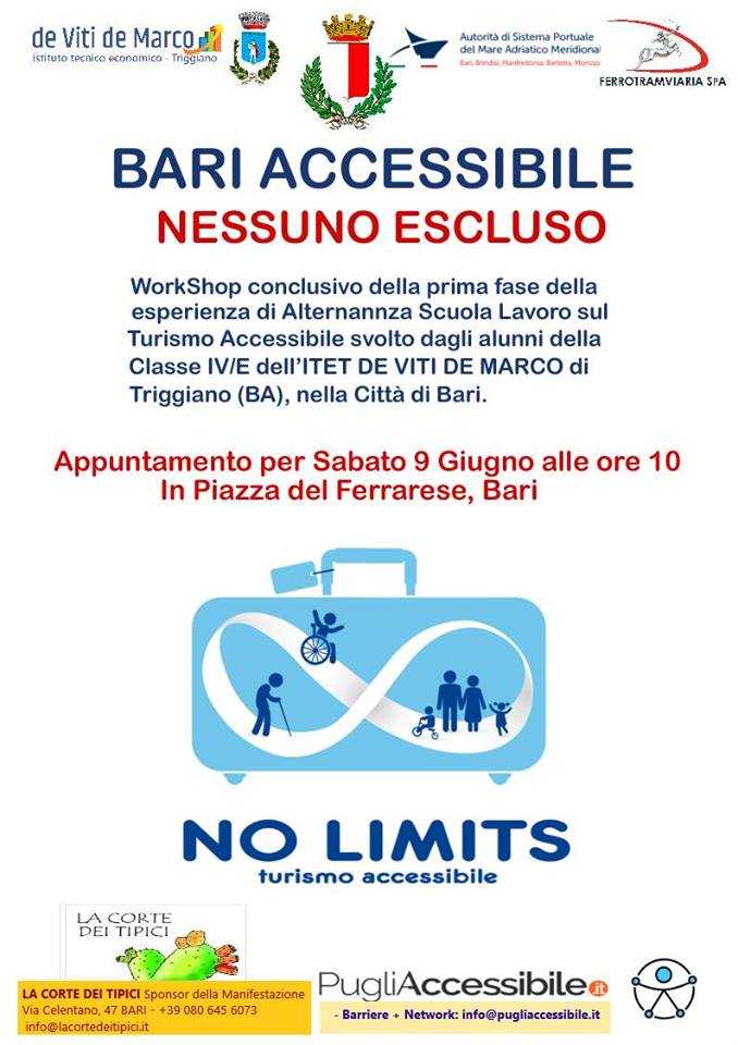 9 giugno a Bari Workshop sul turismo accessibile