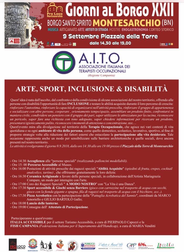 """arte sport disabilità 9 settembre montesarchio - """"ARTE, SPORT, INCLUSIONE E DISABILITÀ"""" -  9 Settembre a Montesarchio (Bn)"""